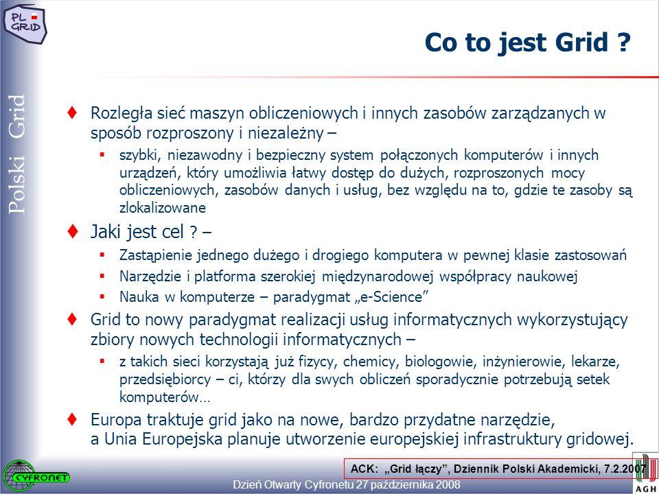 Dzień Otwarty Cyfronetu 27 października 2008 5 Polski Grid Co to jest Grid .