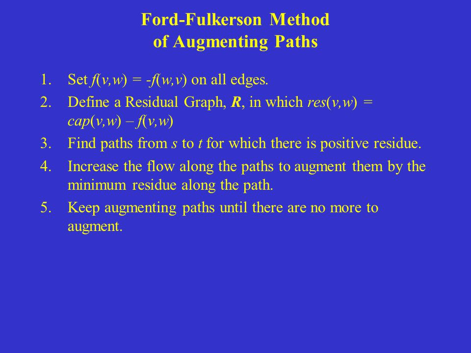 Ford-Fulkerson Method of Augmenting Paths 1.Set f(v,w) = -f(w,v) on all edges. 2.Define a Residual Graph, R, in which res(v,w) = cap(v,w) – f(v,w) 3.F