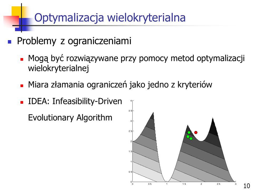Optymalizacja wielokryterialna 10 Problemy z ograniczeniami Mogą być rozwiązywane przy pomocy metod optymalizacji wielokryterialnej Miara złamania ogr