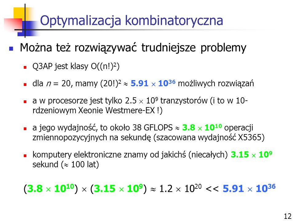 Optymalizacja kombinatoryczna 12 Można też rozwiązywać trudniejsze problemy Q3AP jest klasy O((n!) 2 ) dla n = 20, mamy (20!) 2  5.91  10 36 możliwy