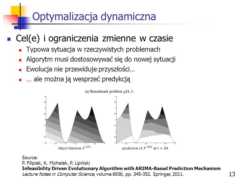 Optymalizacja dynamiczna 13 Cel(e) i ograniczenia zmienne w czasie Typowa sytuacja w rzeczywistych problemach Algorytm musi dostosowywać się do nowej