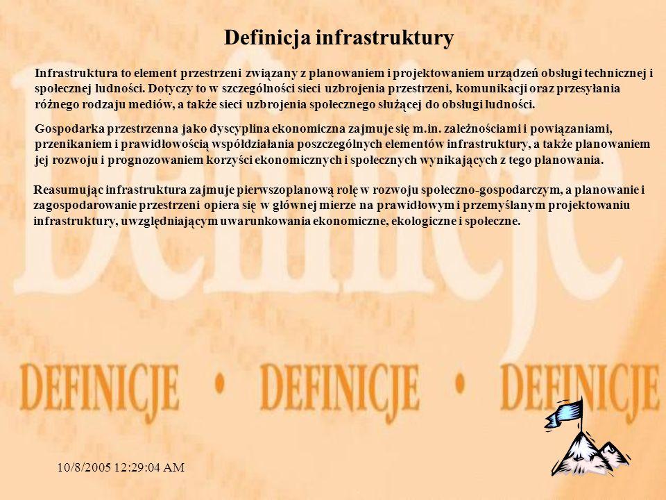 10/8/2005 12:29:04 AM Definicja infrastruktury Reasumując infrastruktura zajmuje pierwszoplanową rolę w rozwoju społeczno-gospodarczym, a planowanie i zagospodarowanie przestrzeni opiera się w głównej mierze na prawidłowym i przemyślanym projektowaniu infrastruktury, uwzględniającym uwarunkowania ekonomiczne, ekologiczne i społeczne.