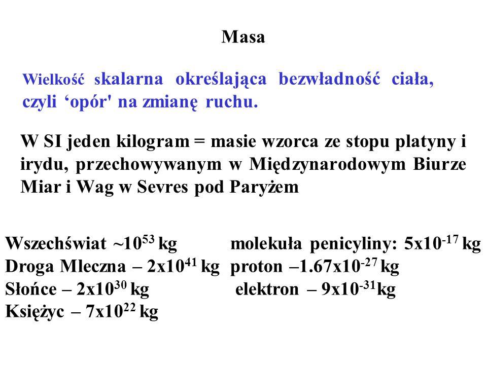 Masa W SI jeden kilogram = masie wzorca ze stopu platyny i irydu, przechowywanym w Międzynarodowym Biurze Miar i Wag w Sevres pod Paryżem Wszechświat