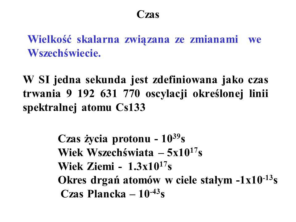 Czas W SI jedna sekunda jest zdefiniowana jako czas trwania 9 192 631 770 oscylacji określonej linii spektralnej atomu Cs133 Czas życia protonu - 10 39 s Wiek Wszechświata – 5x10 17 s Wiek Ziemi - 1.3x10 17 s Okres drgań atomów w ciele stałym -1x10 -13 s Czas Plancka – 10 -43 s Wielkość skalarna związana ze zmianami we Wszechświecie.