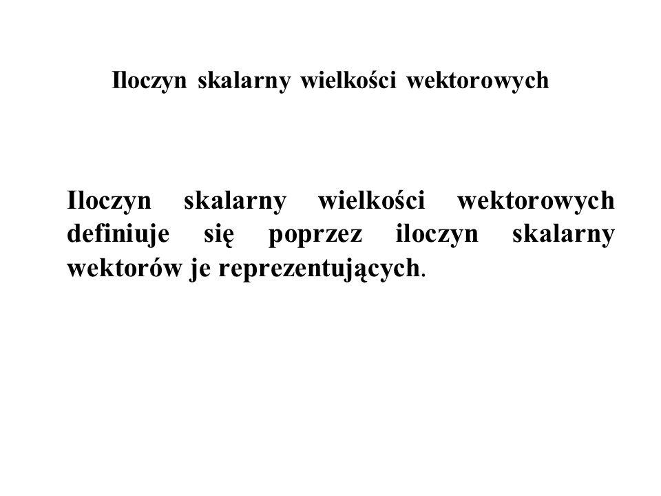 Iloczyn skalarny wielkości wektorowych Iloczyn skalarny wielkości wektorowych definiuje się poprzez iloczyn skalarny wektorów je reprezentujących.
