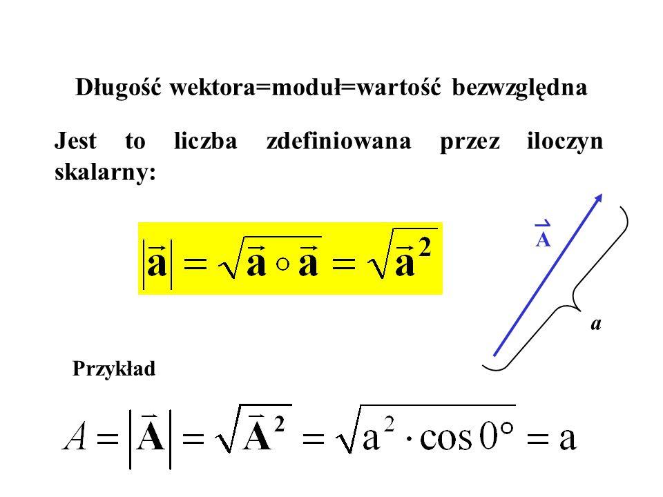 Długość wektora=moduł=wartość bezwzględna Jest to liczba zdefiniowana przez iloczyn skalarny: A a Przykład