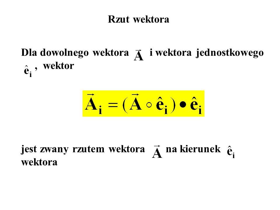 Rzut wektora Dla dowolnego wektora i wektora jednostkowego, wektor jest zwany rzutem wektora na kierunek wektora