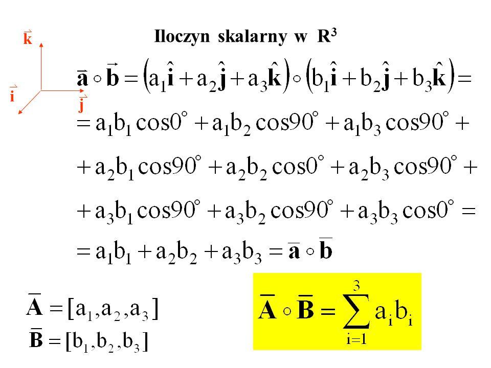 Iloczyn skalarny w R 3 i j k