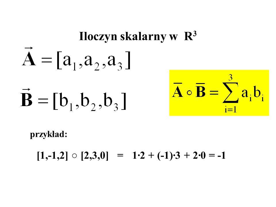 przykład: [1,-1,2] ○ [2,3,0] = 1·2 + (-1)·3 + 2·0 =