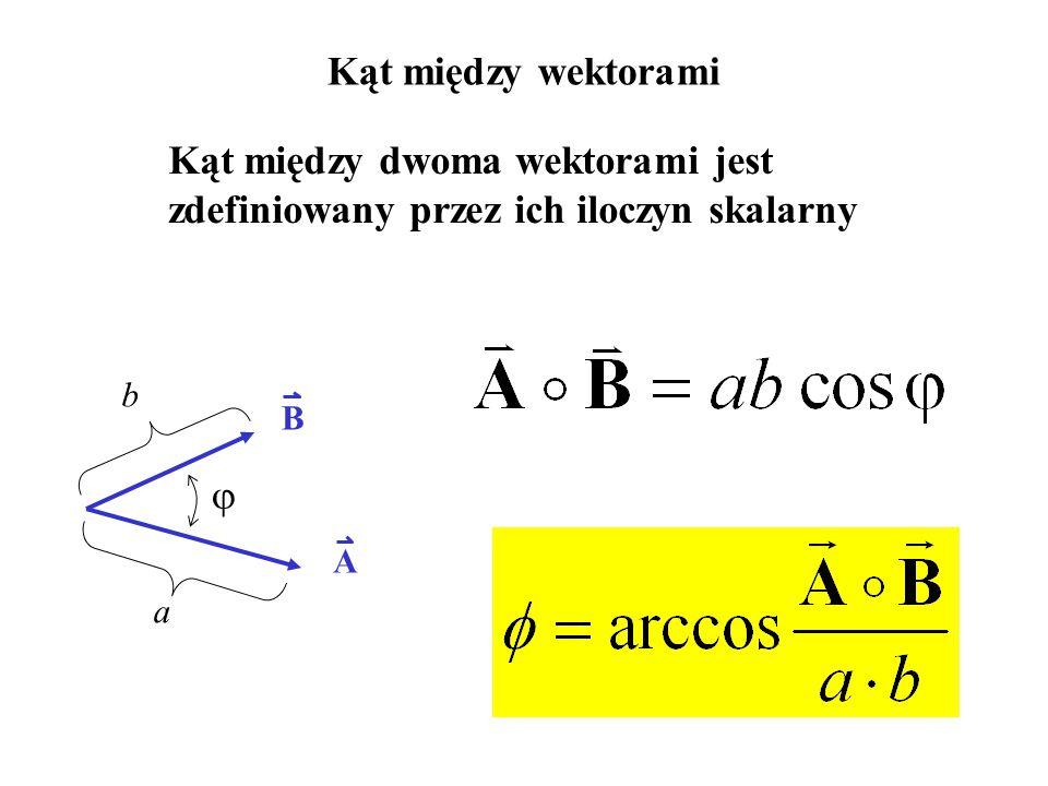 Kąt między wektorami A B a b  Kąt między dwoma wektorami jest zdefiniowany przez ich iloczyn skalarny