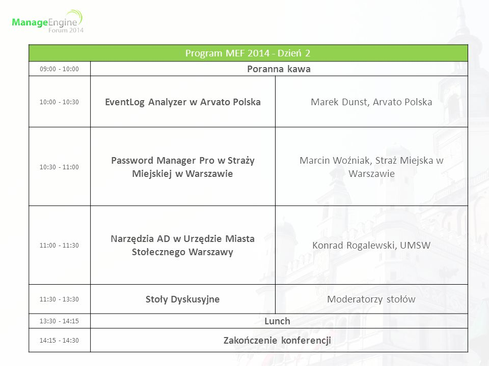 Program MEF 2014 - Dzień 2 09:00 - 10:00 Poranna kawa 10:00 - 10:30 EventLog Analyzer w Arvato PolskaMarek Dunst, Arvato Polska 10:30 - 11:00 Password
