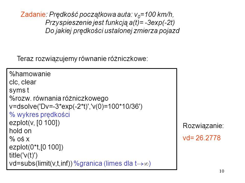10 Zadanie: Prędkość początkowa auta: v 0 =100 km/h, Przyspieszenie jest funkcją a(t)= -3exp(-2t) Do jakiej prędkości ustalonej zmierza pojazd Teraz r