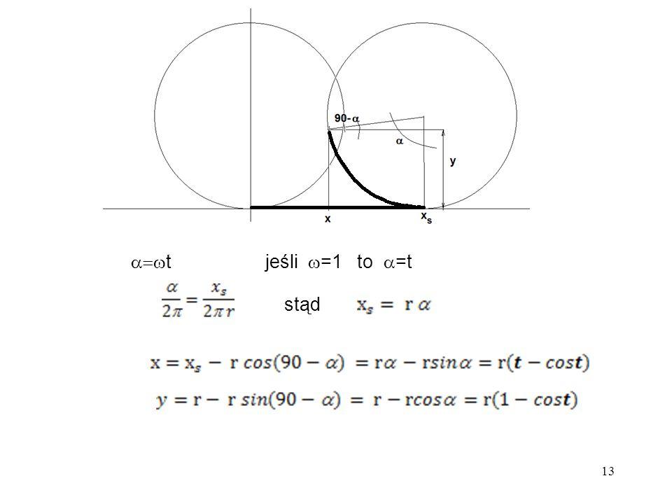 13  tjeśli  =1 to  =t stąd