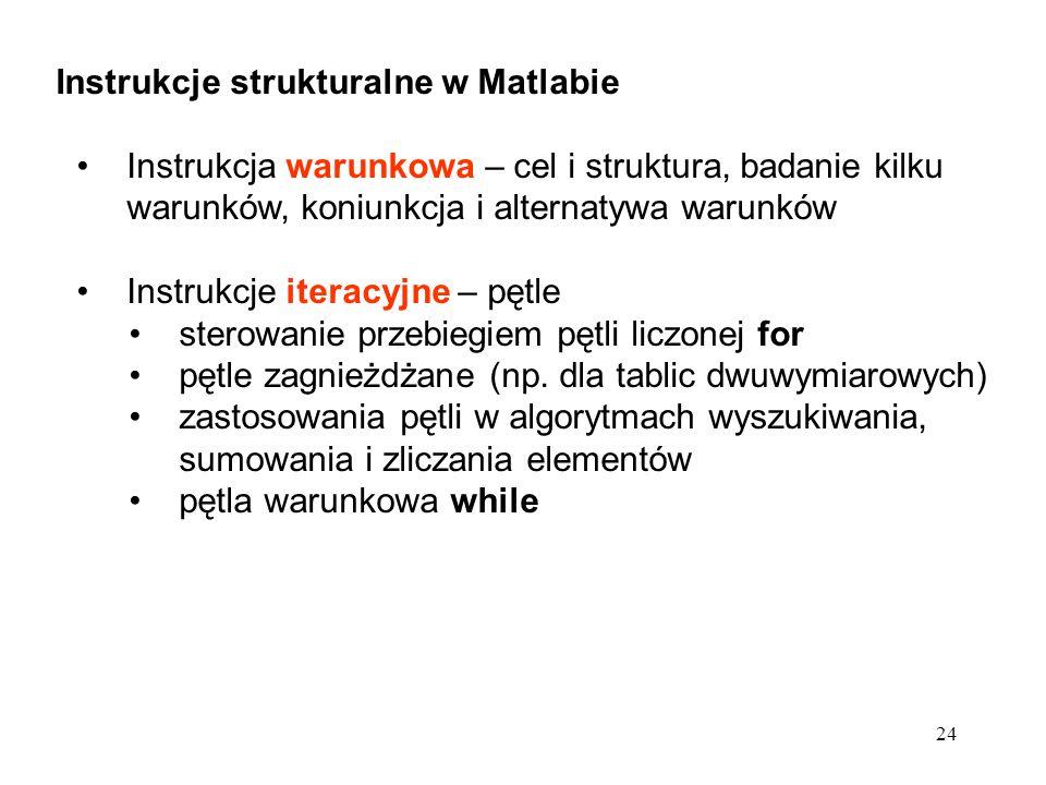 24 Instrukcje strukturalne w Matlabie Instrukcja warunkowa – cel i struktura, badanie kilku warunków, koniunkcja i alternatywa warunków Instrukcje ite