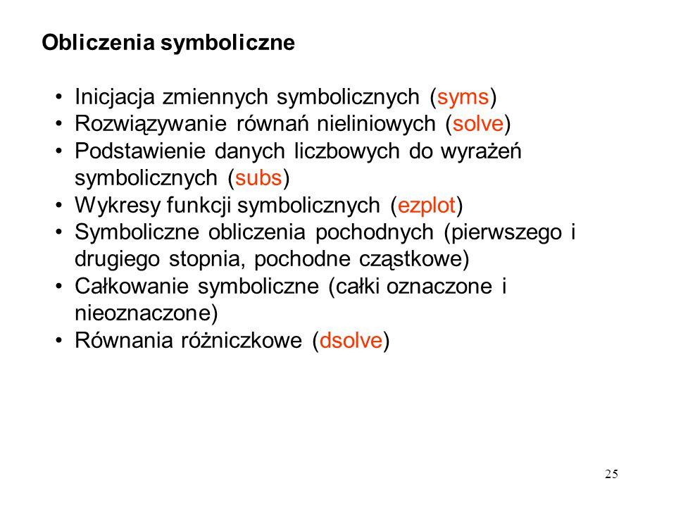 25 Obliczenia symboliczne Inicjacja zmiennych symbolicznych (syms) Rozwiązywanie równań nieliniowych (solve) Podstawienie danych liczbowych do wyrażeń