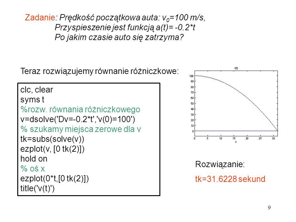 9 Zadanie: Prędkość początkowa auta: v 0 =100 m/s, Przyspieszenie jest funkcją a(t)= -0.2*t Po jakim czasie auto się zatrzyma? Teraz rozwiązujemy równ