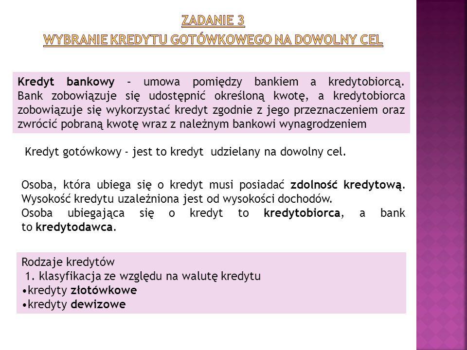 Kredyt bankowy – umowa pomiędzy bankiem a kredytobiorcą. Bank zobowiązuje się udostępnić określoną kwotę, a kredytobiorca zobowiązuje się wykorzystać