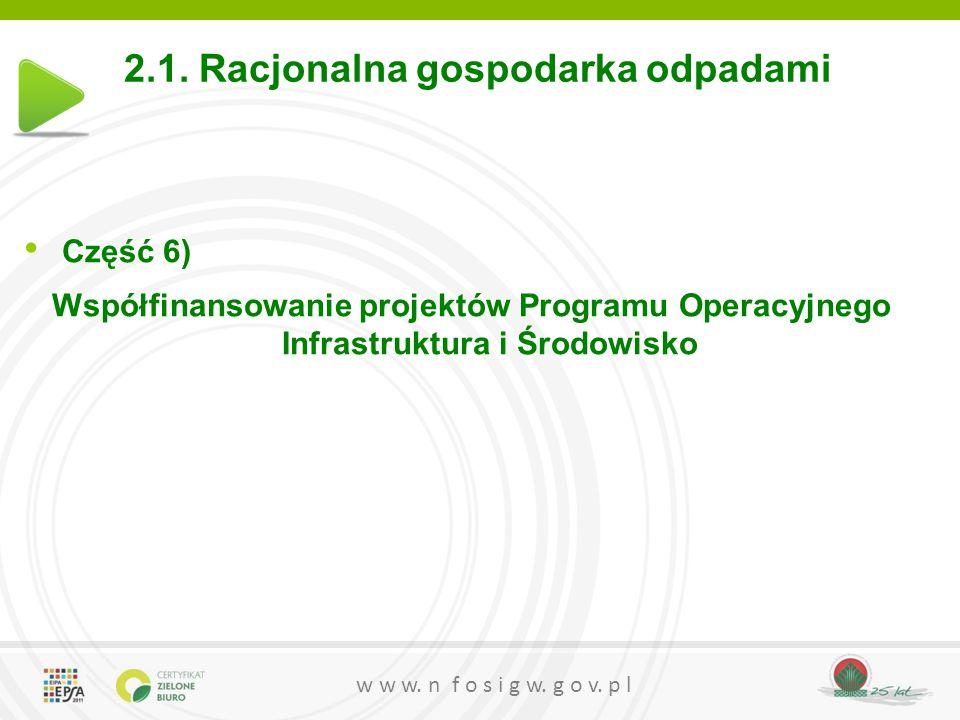 w w w. n f o s i g w. g o v. p l 2.1. Racjonalna gospodarka odpadami Część 6) Współfinansowanie projektów Programu Operacyjnego Infrastruktura i Środo