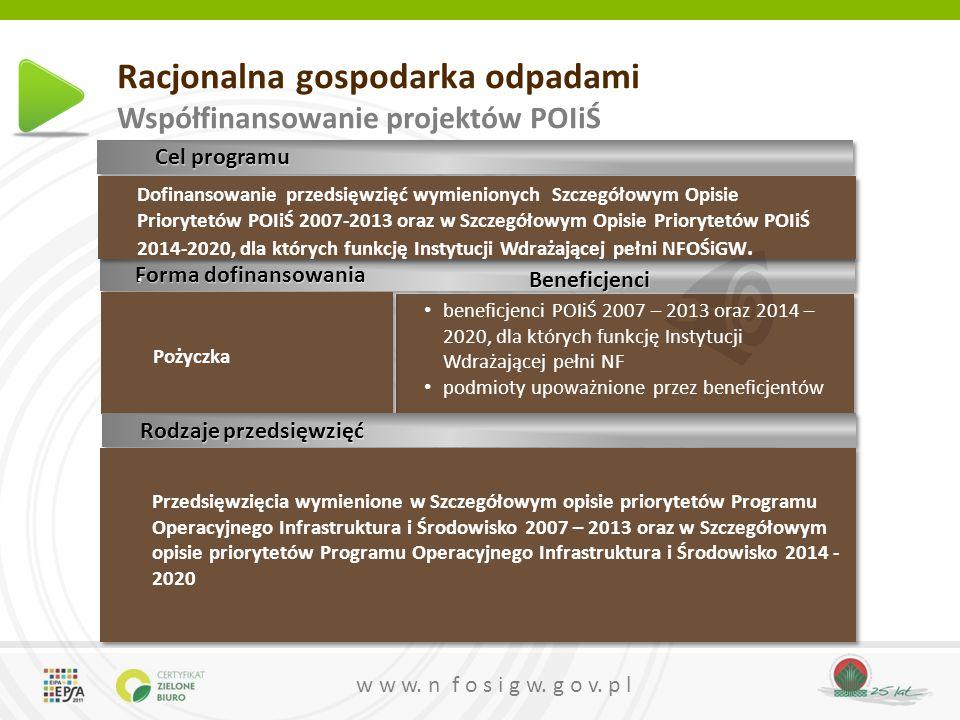 w w w. n f o s i g w. g o v. p l Racjonalna gospodarka odpadami Współfinansowanie projektów POIiŚ beneficjenci POIiŚ 2007 – 2013 oraz 2014 – 2020, dla
