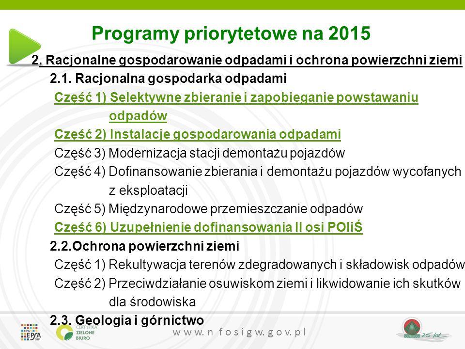 w w w. n f o s i g w. g o v. p l Programy priorytetowe na 2015 2. Racjonalne gospodarowanie odpadami i ochrona powierzchni ziemi 2.1. Racjonalna gospo