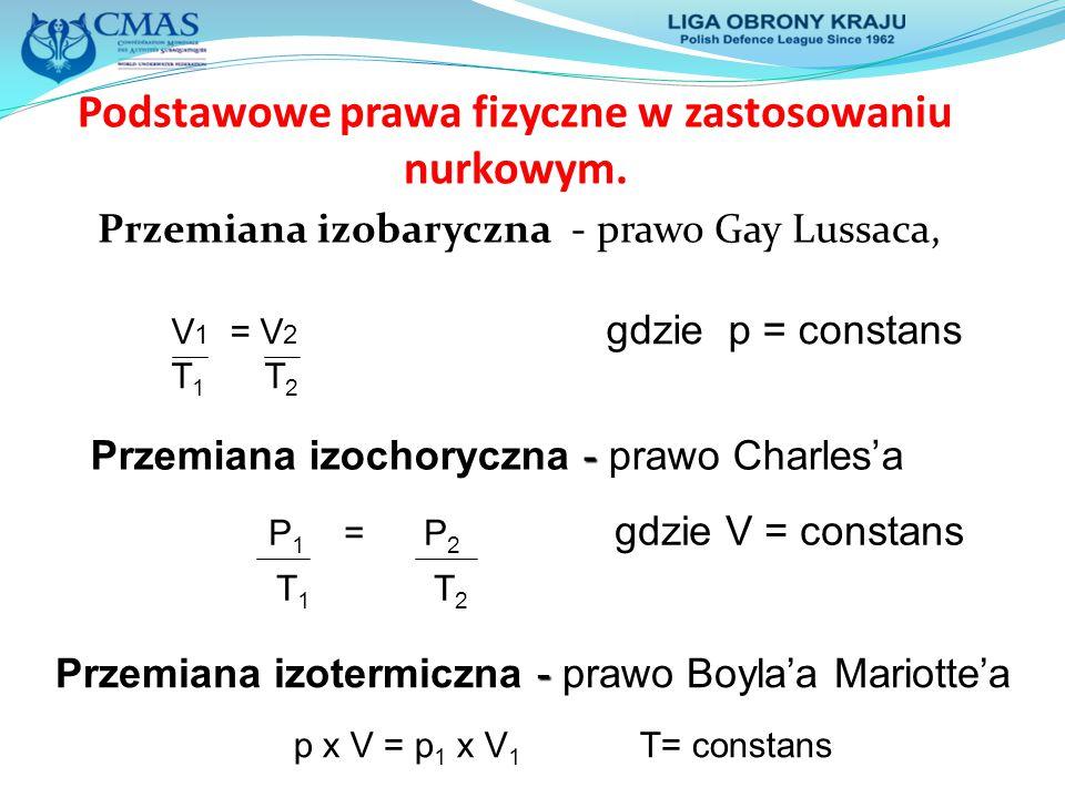 Podstawowe prawa fizyczne w zastosowaniu nurkowym. Przemiana izobaryczna - prawo Gay Lussaca, V 1 = V 2 gdzie p = constans T 1 T 2 - Przemiana izochor