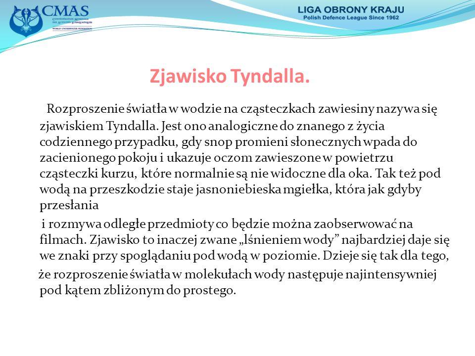Zjawisko Tyndalla. Rozproszenie światła w wodzie na cząsteczkach zawiesiny nazywa się zjawiskiem Tyndalla. Jest ono analogiczne do znanego z życia cod