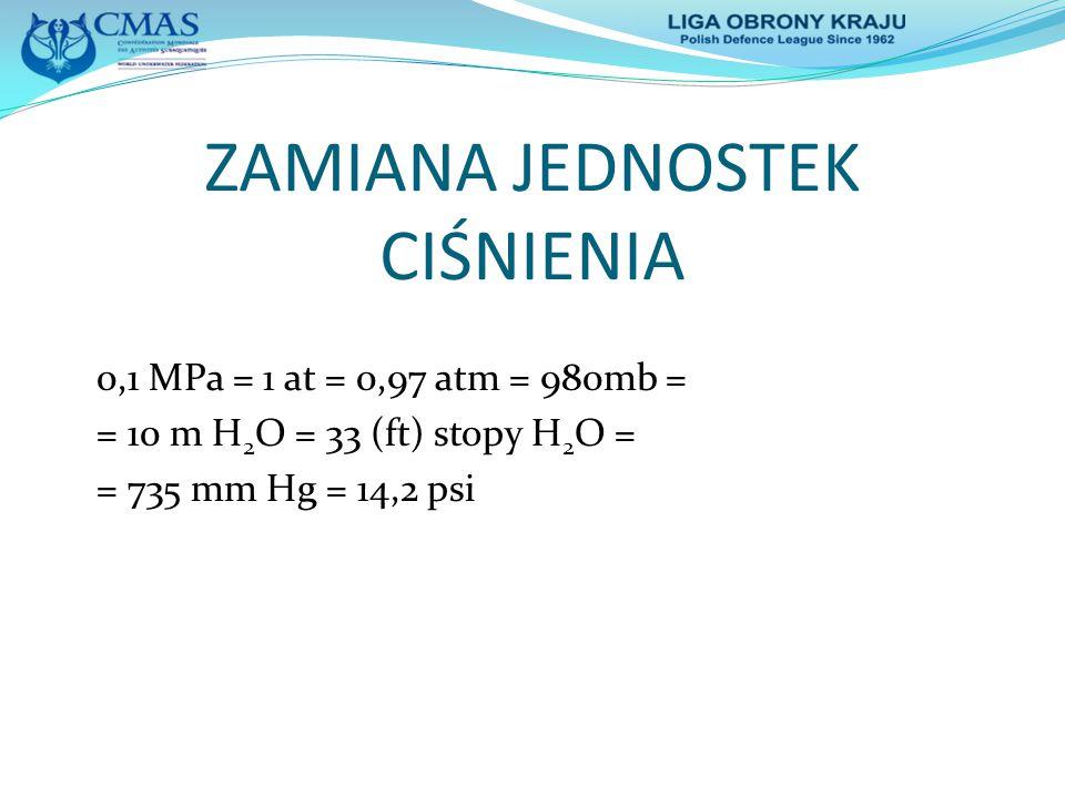 ZAMIANA JEDNOSTEK CIŚNIENIA 0,1 MPa = 1 at = 0,97 atm = 980mb = = 10 m H 2 O = 33 (ft) stopy H 2 O = = 735 mm Hg = 14,2 psi