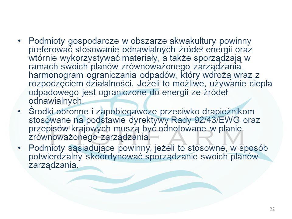 Podmioty gospodarcze w obszarze akwakultury powinny preferować stosowanie odnawialnych źródeł energii oraz wtórnie wykorzystywać materiały, a także sp