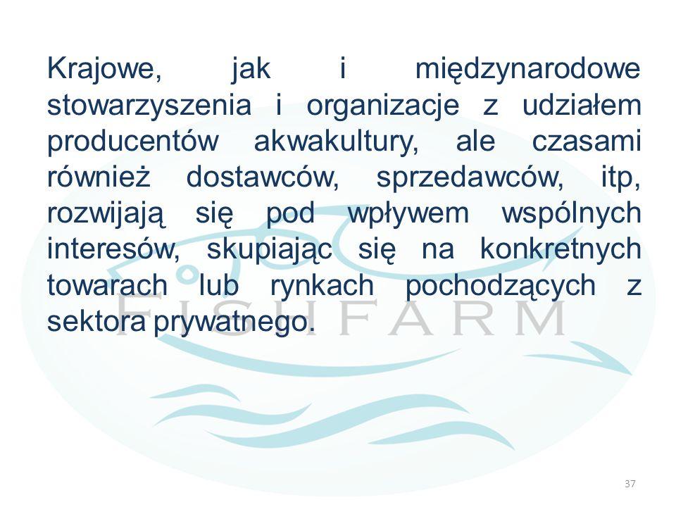 Krajowe, jak i międzynarodowe stowarzyszenia i organizacje z udziałem producentów akwakultury, ale czasami również dostawców, sprzedawców, itp, rozwijają się pod wpływem wspólnych interesów, skupiając się na konkretnych towarach lub rynkach pochodzących z sektora prywatnego.
