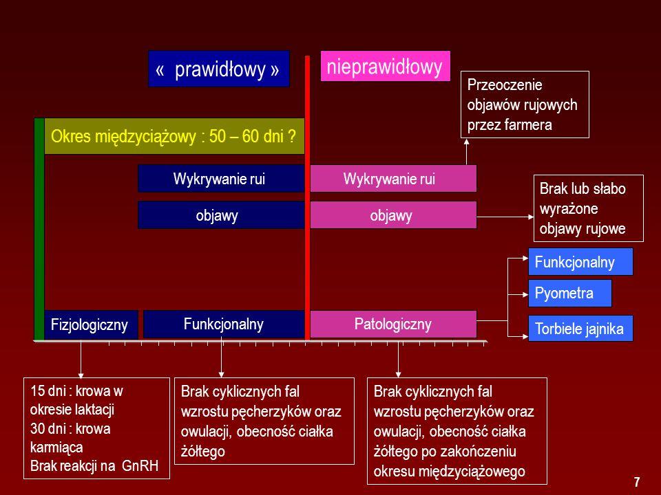 7 Torbiele jajnika Funkcjonalny Fizjologiczny Pyometra Okres międzyciążowy : 50 – 60 dni .