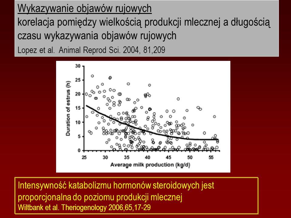 Wykazywanie objawów rujowych korelacja pomiędzy wielkością produkcji mlecznej a długością czasu wykazywania objawów rujowych Lopez et al. Animal Repro