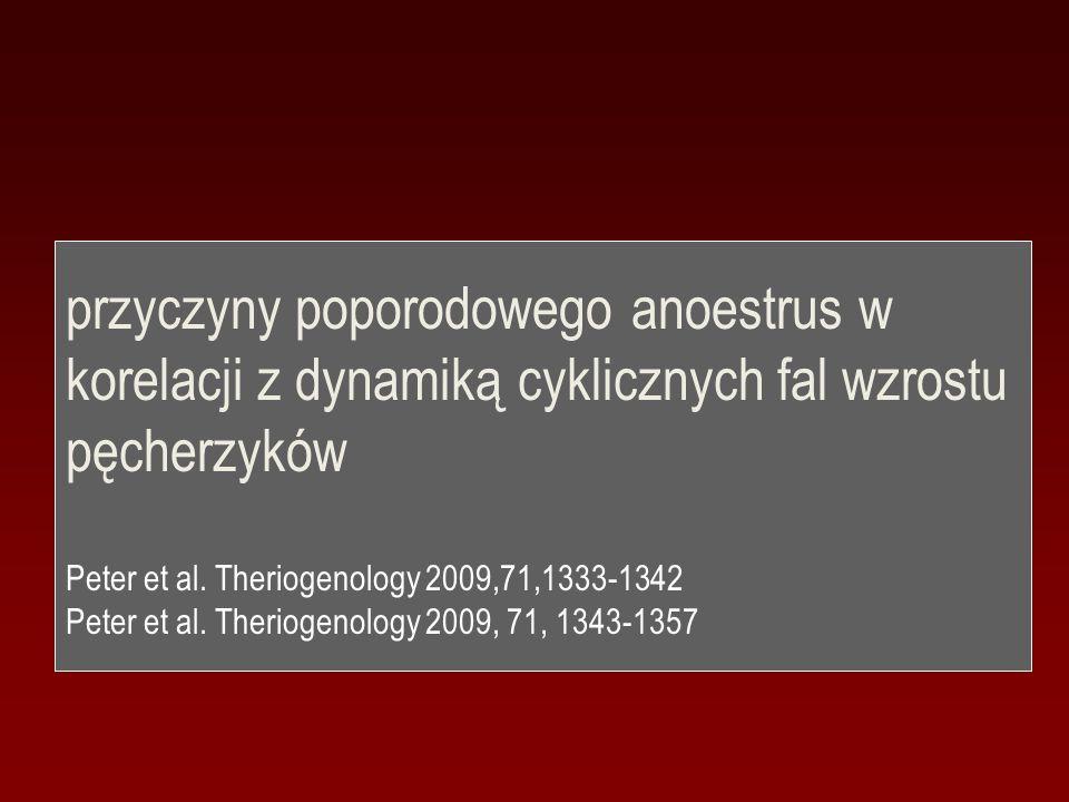 przyczyny poporodowego anoestrus w korelacji z dynamiką cyklicznych fal wzrostu pęcherzyków Peter et al. Theriogenology 2009,71,1333-1342 Peter et al.