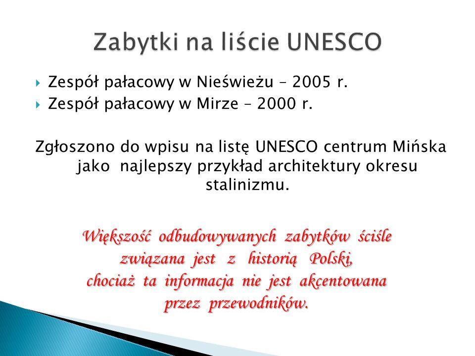  Zespół pałacowy w Nieświeżu – 2005 r.  Zespół pałacowy w Mirze – 2000 r. Zgłoszono do wpisu na listę UNESCO centrum Mińska jako najlepszy przykład