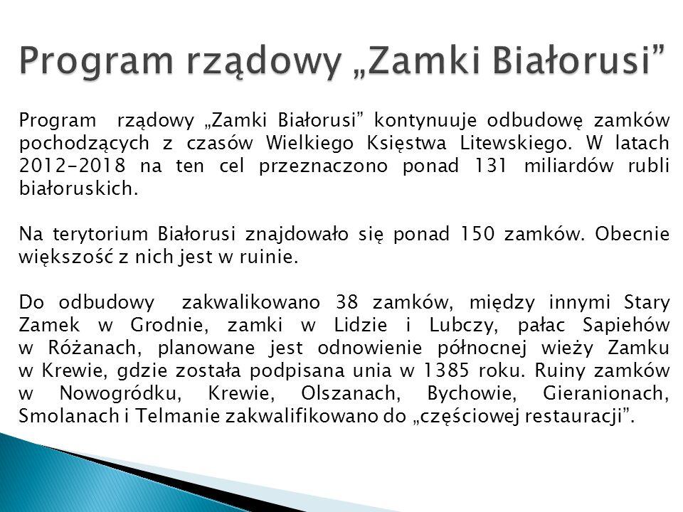 """Program rządowy """"Zamki Białorusi"""" kontynuuje odbudowę zamków pochodzących z czasów Wielkiego Księstwa Litewskiego. W latach 2012-2018 na ten cel przez"""