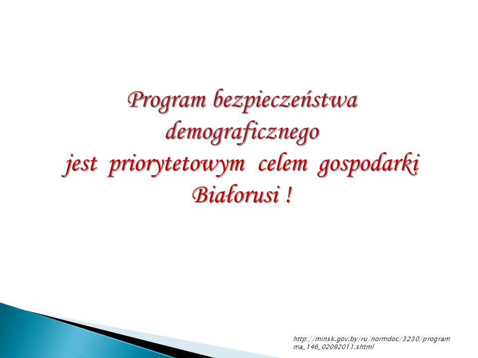 http://minsk.gov.by/ru/normdoc/3230/program ma_146_02092011.shtml Program bezpieczeństwa demograficznego jest priorytetowym celem gospodarki Białorusi