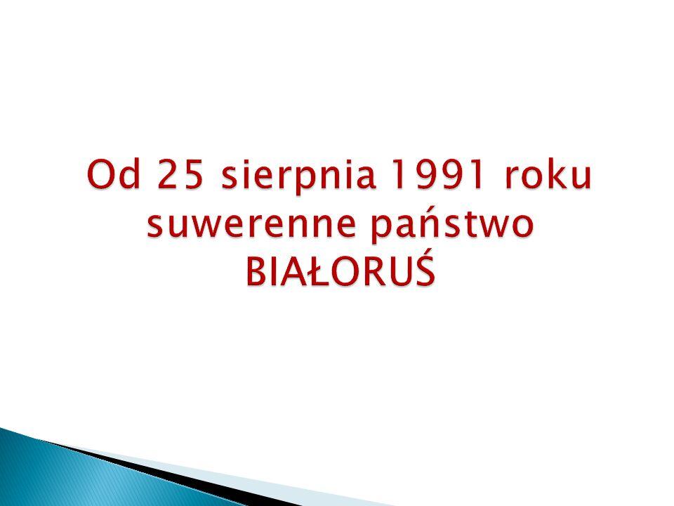 Według spisu ludności z 1999 i 2009 roku struktura etniczna na Białorusi NarodowośćLiczba w 1999Udział Liczba w 2009Udział Białorusini8 158 90081,2%7 957 25283,7% Rosjanie1 141 70011,4% 785 084 8,3% Polacy 395 700 3,9% 294 549 3,1% Ukraińcy 237 000 2,4% 158 723 1,7% Inni 110 900 1,1% 308 199 3,2% Ludność ogółem10 045 200100% 9 503 807100% Ludność Białorusi według narodowości i języka (spis 1999) Narodowość zaznaczyli język w którym zwykle rozmawiają w domu białoruskirosyjskiinne Białorusini8 158 90041,3%58,6%0,1% Rosjanie1 141 700 4,3%95,7%– Polacy 395 70057,6%37,7%4,7% Ukraińcy 237 00010,2%83,6%6,2% Inni 110 900 3,8%95,7%0,5% Razem10 045 20036,7%62,8%0,5% Źródło: http:/ www.wikipedia.pl/bialorus..html BIAŁORUŚ to państwo wielonarodowe !