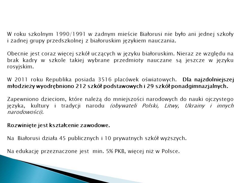 W roku szkolnym 1990/1991 w żadnym mieście Białorusi nie było ani jednej szkoły i żadnej grupy przedszkolnej z białoruskim językiem nauczania. Obecnie
