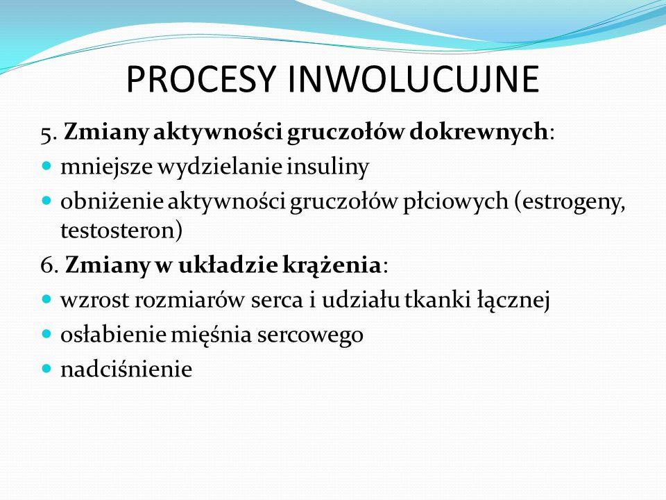 PROCESY INWOLUCUJNE 5. Zmiany aktywności gruczołów dokrewnych: mniejsze wydzielanie insuliny obniżenie aktywności gruczołów płciowych (estrogeny, test