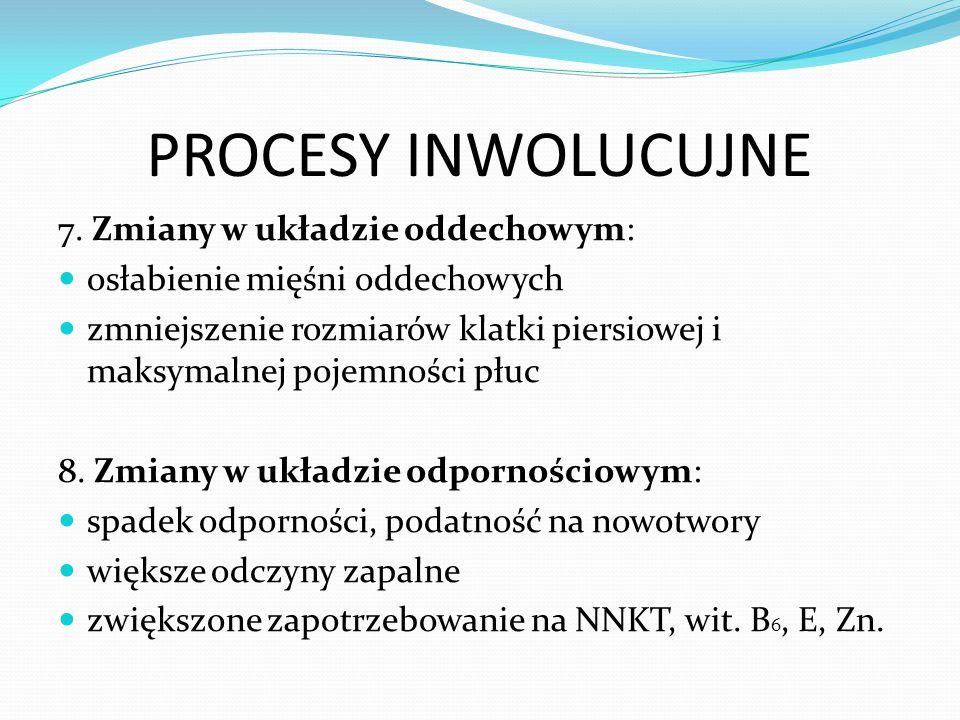 PROCESY INWOLUCUJNE 7. Zmiany w układzie oddechowym: osłabienie mięśni oddechowych zmniejszenie rozmiarów klatki piersiowej i maksymalnej pojemności p