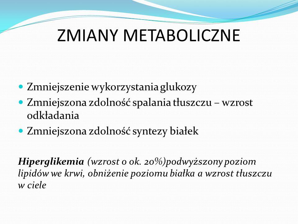 ZMIANY METABOLICZNE Zmniejszenie wykorzystania glukozy Zmniejszona zdolność spalania tłuszczu – wzrost odkładania Zmniejszona zdolność syntezy białek Hiperglikemia (wzrost o ok.