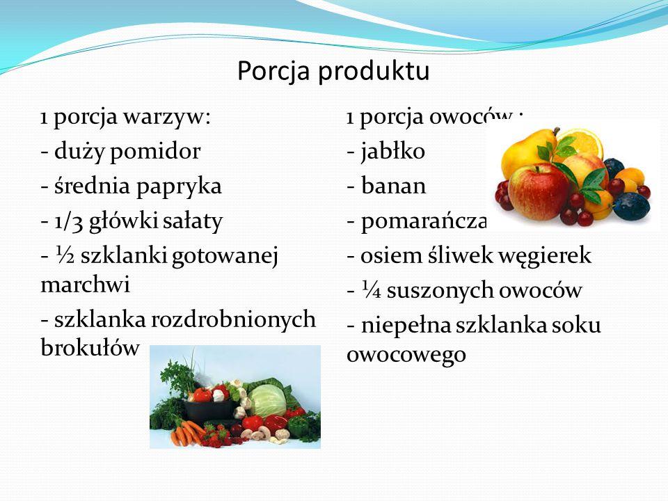 Porcja produktu 1 porcja warzyw: - duży pomidor - średnia papryka - 1/3 główki sałaty - ½ szklanki gotowanej marchwi - szklanka rozdrobnionych brokułów 1 porcja owoców : - jabłko - banan - pomarańcza - osiem śliwek węgierek - ¼ suszonych owoców - niepełna szklanka soku owocowego