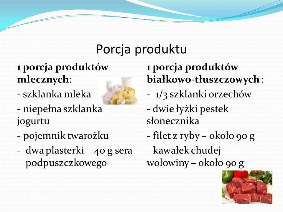 Porcja produktu 1 porcja produktów mlecznych: - szklanka mleka - niepełna szklanka jogurtu - pojemnik twarożku - dwa plasterki – 40 g sera podpuszczkowego 1 porcja produktów białkowo-tłuszczowych : - 1/3 szklanki orzechów - dwie łyżki pestek słonecznika - filet z ryby – około 90 g - kawałek chudej wołowiny – około 90 g