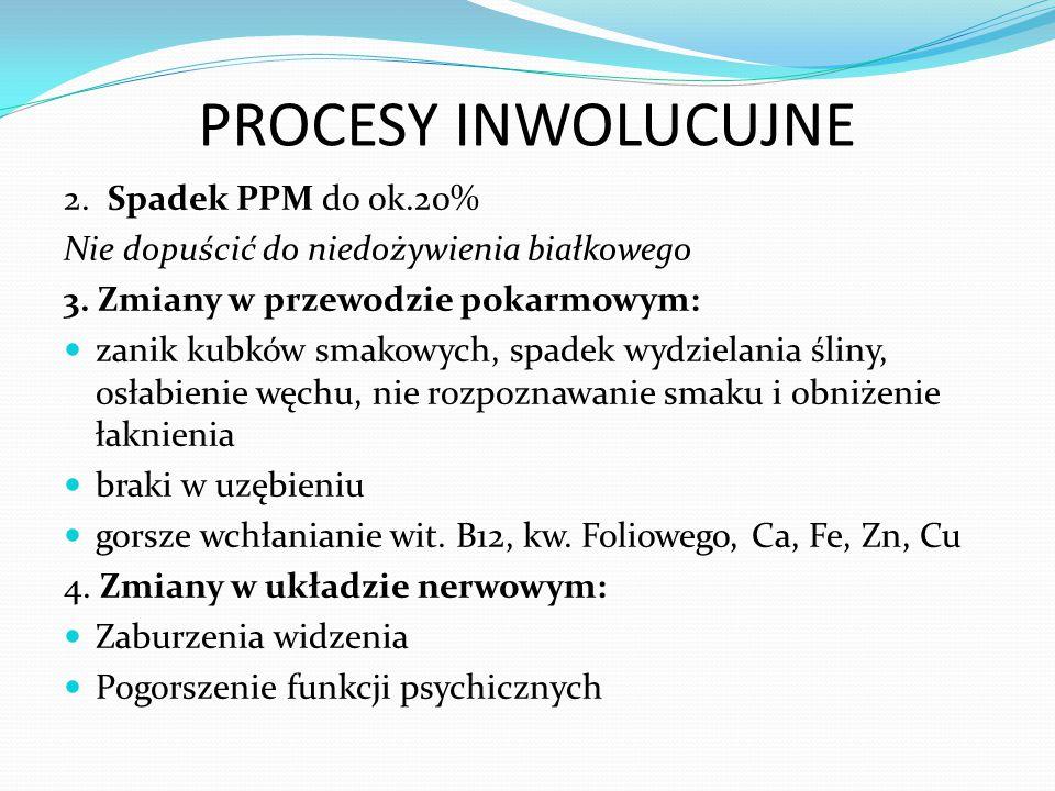 PROCESY INWOLUCUJNE 2.Spadek PPM do ok.20% Nie dopuścić do niedożywienia białkowego 3.