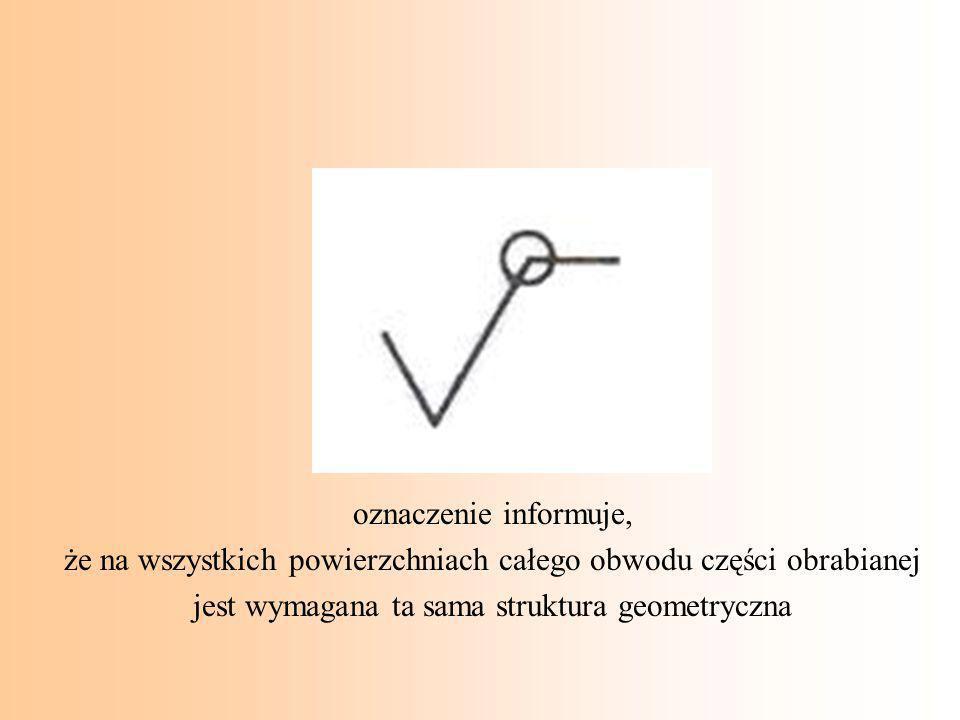 oznaczenie informuje, że na wszystkich powierzchniach całego obwodu części obrabianej jest wymagana ta sama struktura geometryczna
