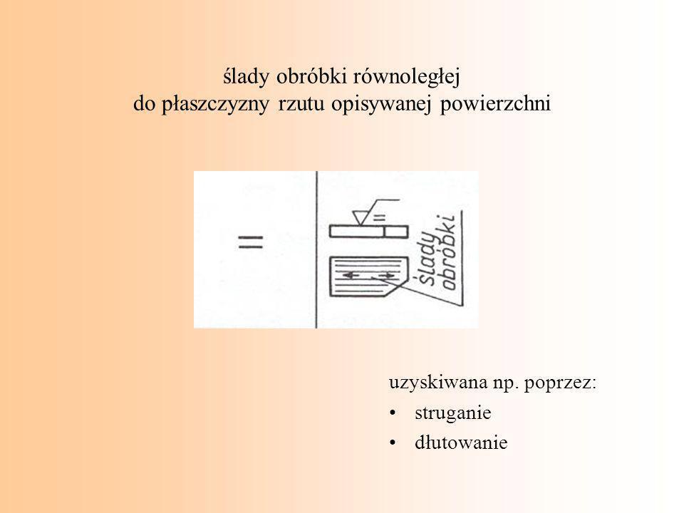 ślady obróbki równoległej do płaszczyzny rzutu opisywanej powierzchni uzyskiwana np. poprzez: struganie dłutowanie