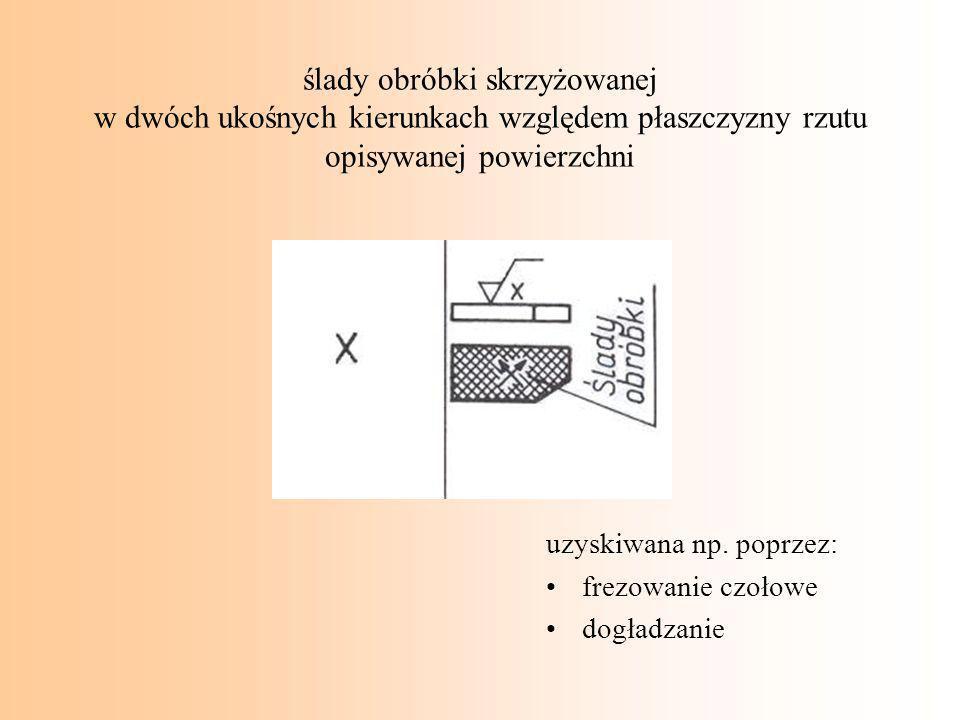 ślady obróbki skrzyżowanej w dwóch ukośnych kierunkach względem płaszczyzny rzutu opisywanej powierzchni uzyskiwana np. poprzez: frezowanie czołowe do