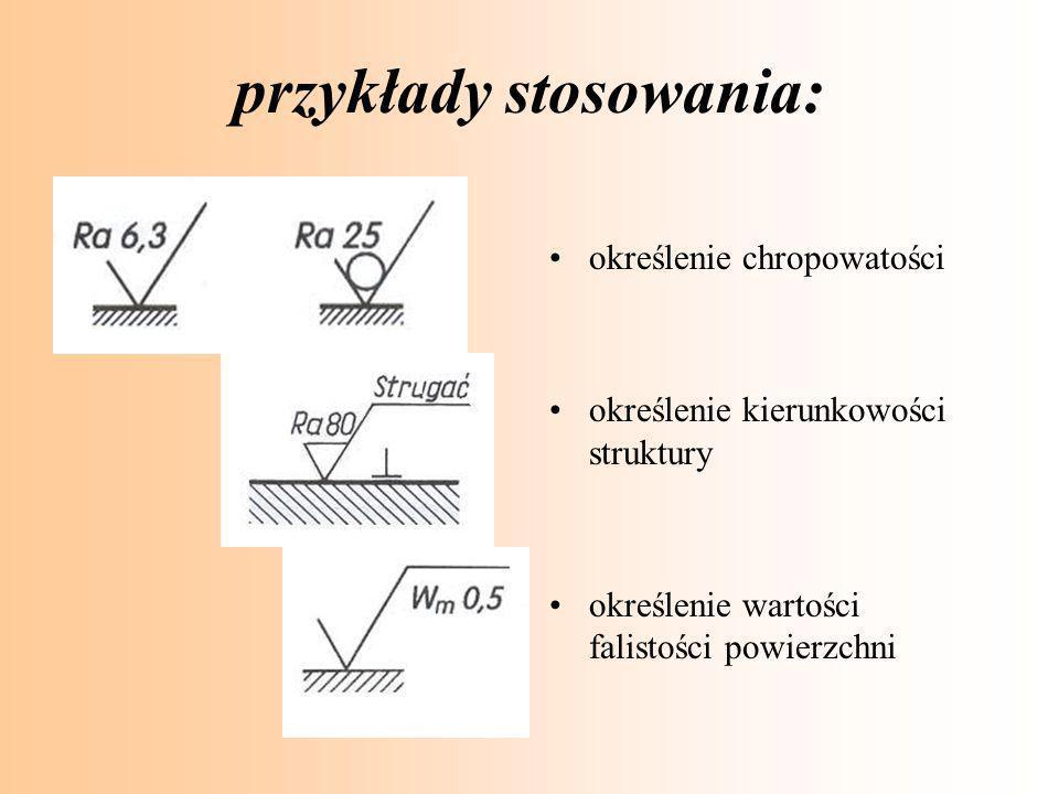 przykłady stosowania: określenie chropowatości określenie kierunkowości struktury określenie wartości falistości powierzchni