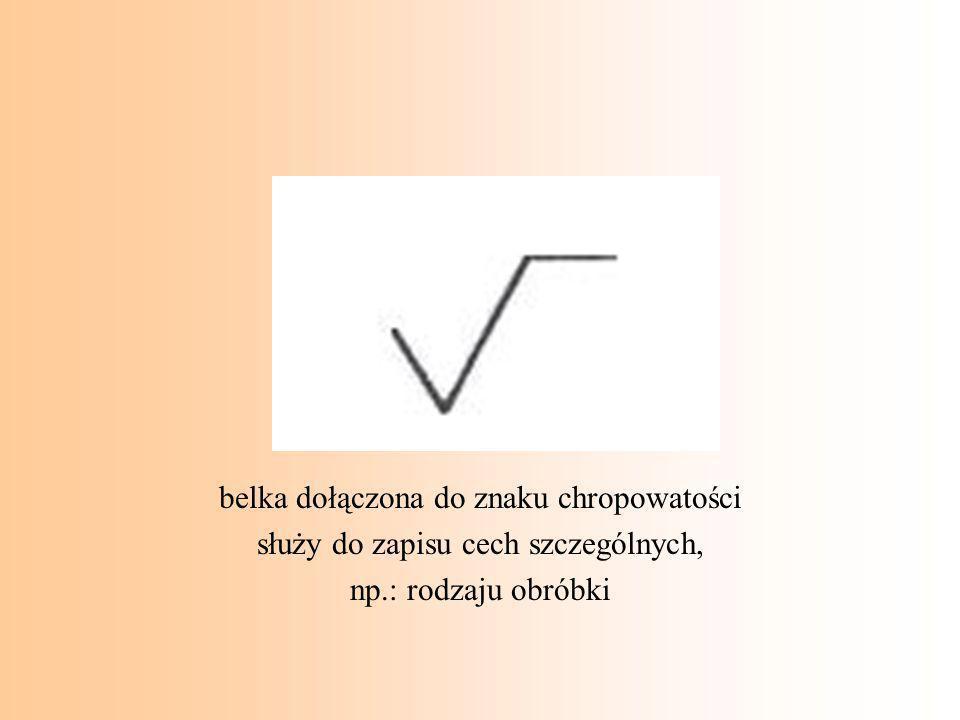 belka dołączona do znaku chropowatości służy do zapisu cech szczególnych, np.: rodzaju obróbki