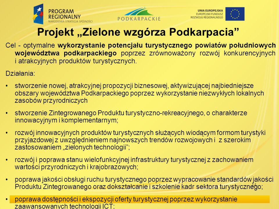 """Projekt """"Zielone wzgórza Podkarpacia"""" Cel - optymalne wykorzystanie potencjału turystycznego powiatów południowych województwa podkarpackiego poprzez"""