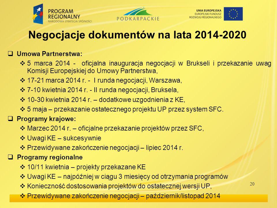 Negocjacje dokumentów na lata 2014-2020  Umowa Partnerstwa:  5 marca 2014 - oficjalna inauguracja negocjacji w Brukseli i przekazanie uwag Komisji E